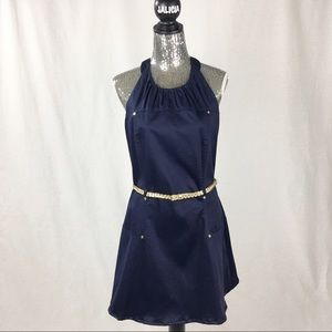 Calvin Klein Navy Blue Halter Dress with Gold Belt